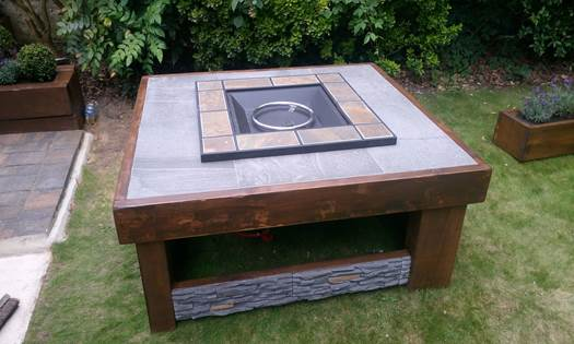 Oak Leaf Firepit made from beech sleepers and softwood carcassing